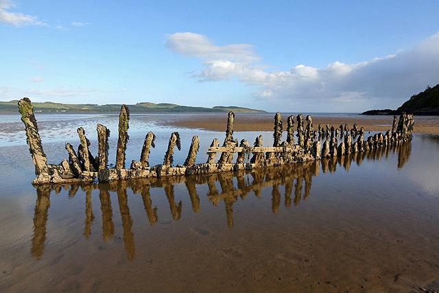 Shipwreck timbers in Nun Mill Bay